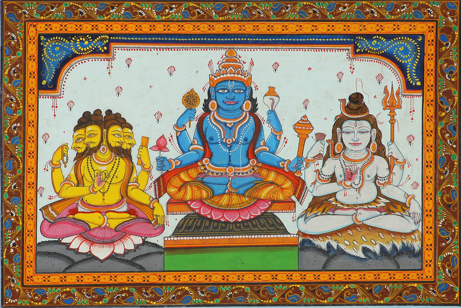 Lord Vishnu with Shiva and Brahma by Rabi Béhéra, Folkart from Temple Town, Puri (Orissa)